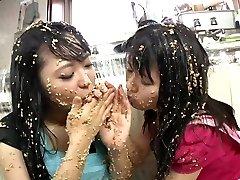Subtitled extraordinary Japanese natto sploshing lesbians