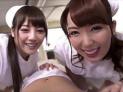 Two japanese nurses suck penis and swap cum.