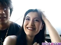 Smoking steaming dark haired Mayu Kotono gets on her knees and