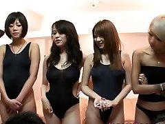 Japanese swimsuit honies in orgy