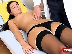 Brunette medic gaping and cumshot