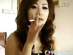 cute chinese woman smoking