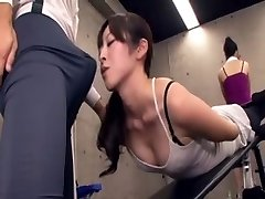 Asian teacher acquires erection at the gym