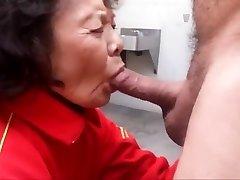 Grandmother enjoys sucking cock and swallowing cum