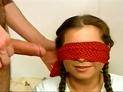 Blindfolded Hoe Gobbles A Stiff Wang