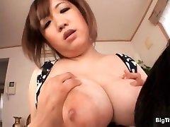 Big-boobed asian slut gets her huge fun bags