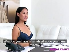 Dame Agent Sexy asian model licks and tastes her first-ever pus