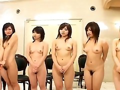 Subtitled Japanese nudist gang anus inspection lineup