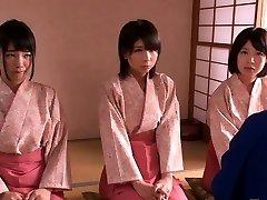 Smallish female dominance Japanese kimono babes jump on dude