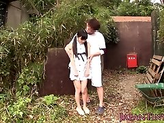 Tiny asian babe fingerfucked outdoors