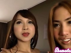 These passionate Asian ladyboys bend over to expose their tender bungholes and finger themselves.