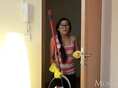 MOM Petite Thai maid shocks young boy of house with a fuck in his guest room