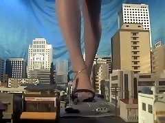 Massive japanese giantess, barefoot,sandals,many cars punched each step