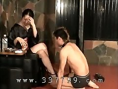 Japanese female dom K of kimono smacking the face of slave