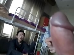 Cumshot in front of korean woman