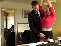 BDSM cougar brit trained to ride by maledom