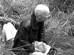 Grandpa Ulf Larsen and the  bitch Angel penetrate outdoor