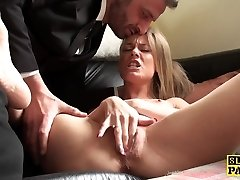 Squirting sub tramp penalized for faking orgasm