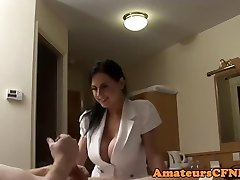 Busty CFNM nurse teases subjugated guy