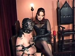 Slaves Testicles and Cock punished by Gothic Mistress