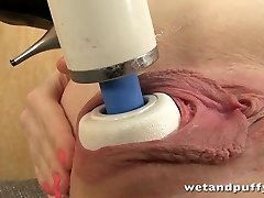Kinky redhead orgasms with hitachi massager
