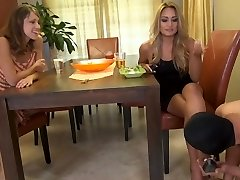 2 dominas using there chasted slave