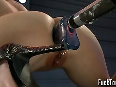 Lesbos pussy fuck double concluded dildo machine