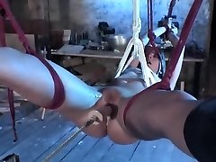 Strapped Blonde Hottie With Shaved Fuckbox Rammed By Machine