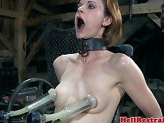 BDSM restrain bondage sub penetrated by machine