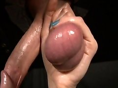 emo gal loves his enormous testicles during gloryhole blowjob