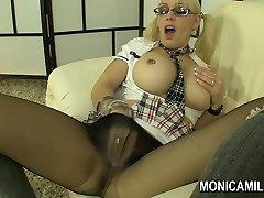 Norwegian Monicamilf in a nylon thong hose scene -  Norsk