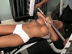 Fabulous stunner Nika Noire and brutish Sledge Hit get horny in the gym