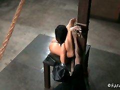 Nimble brunette cockslut lriver shows off her skills in Bondage & Discipline porn clip