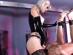 Inked Mistress pegging her slave boy