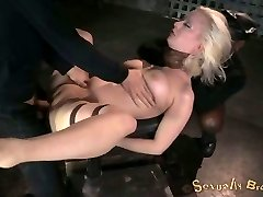 White master fucks tied up huge-chested ash-blonde mish while she sucks BBC (MMF)