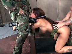 Two sex-hungry soldiers fucks restrained huge-boobed milf Syren De Mer