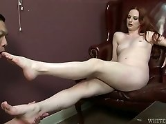 Succulent young mistress make kinky fellow lick her feet