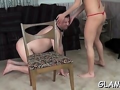 Glamour stunners fuck gimp's throat with feet and toys