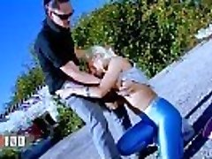 Miss Stacy in hot cock-squeezing shiny leggings fucked stiff outdoors