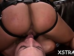 Tattoed wench taking good-sized fucktoys up her gaping wet fur pie