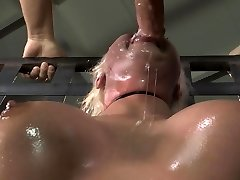 Spit covered face from Bondage & Discipline face ravage
