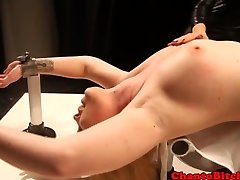 Lezdom blonde slut in nipple treatment