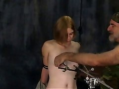 Wondrous  blonde soldier girl with great jugs has her nipples tormented and clamped