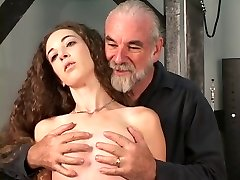 Slave gets restraint bound to table master gives nipple torture with forceps