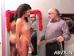 Sexy scenes of coarse bondage on chesty babe's pussy