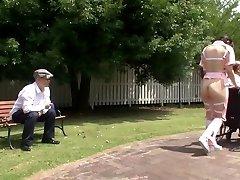 Subtitled freaky Japanese half naked caregiver outdoors