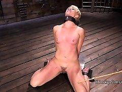 Blonde gets nipples torture in bdsm