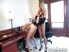 Blonde domina Dia Zerva wears pantyhose as she abuses slave