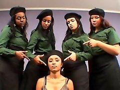 Brazilian cruel military girl-girl spit humiliation