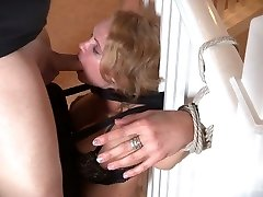 Delicious blonde sexy white girl bound to the railing and facefucked
